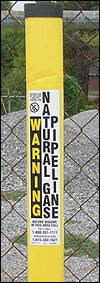 Warning - Natural Gas Pipeline tag