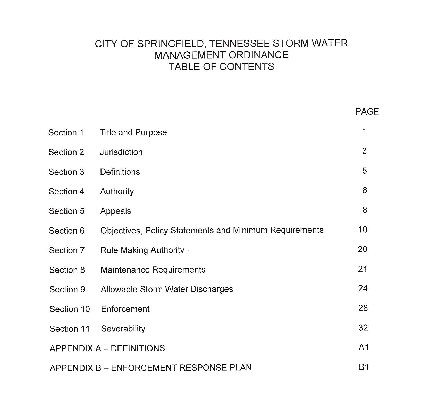 SW Table of Contents