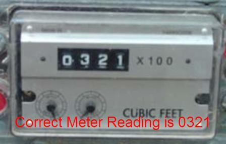 Odometer style meter with reading